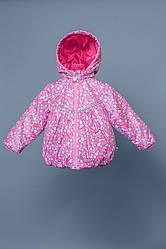 Утепленна куртка-ветровка для девочки цветочки, Модный карапуз, размеры 80-98