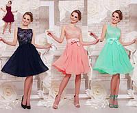 Вечернее летнее платье из гипюра и шифона цвет бордовый мятный персиковый темно-синий размеры 42 по 48
