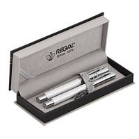 Комплект из перьевой ручки и ручки-роллера Regal, в подарочном футляре, белый