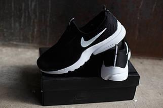 Мужские кроссовки Nike.Без шнуровки черно-белые,сетка,весна-лето, фото 2