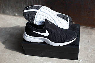 Мужские кроссовки Nike.Без шнуровки черно-белые,сетка,весна-лето, фото 3
