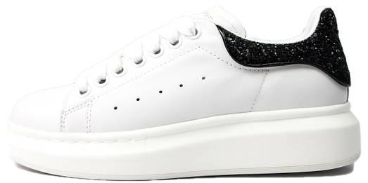 Женские кроссовки Alexander McQueen Glitter White/Black (Александр Маккуин) белые