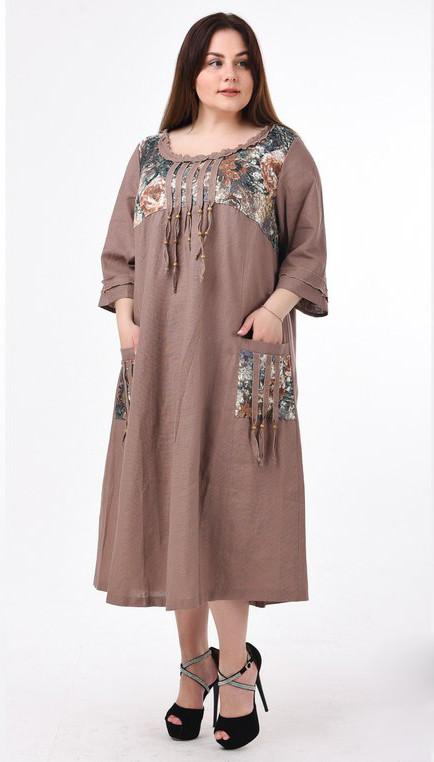 43f32ea00da Бежевое летнее платье из льна для полных Этно - DS Moda - женская одежда  оптом от