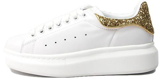 Женские кроссовки Alexander McQueen Glitter White/Gold (Александр Маккуин) белые