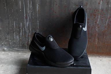 Мужские кроссовки Nike.Без шнуровки черные,сетка,весна-лето