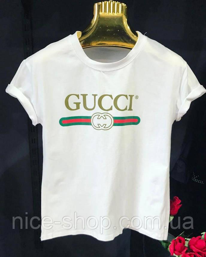 Футболка женская Gucci белая, логотип классика, фото 2