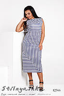Льняное батальное платье Полоска синяя, фото 1