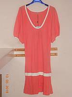 Платье коралловое  из  трикотажного хлопка с плиссировкой O' de Maї, фото 1