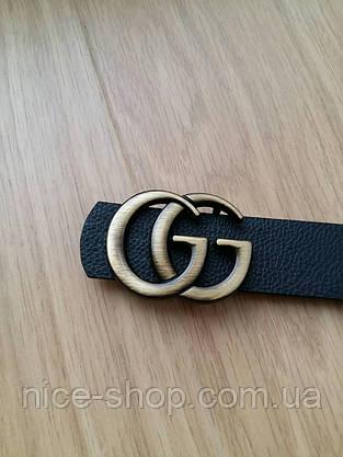 Ремень Gucci черный с золотой матовой пряжкой, средний 3,2 см, фото 2