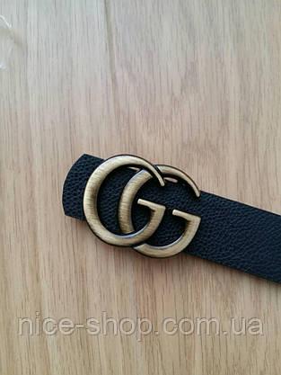 Ремень Gucci черный с золотой матовой пряжкой, средний 3,2 см, фото 3