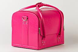 Кейс для косметики, розовый матовый. Кожаный кейс для косметики, фото 2