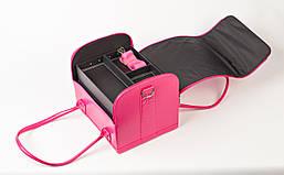 Кейс для косметики, розовый матовый. Кожаный кейс для косметики, фото 3