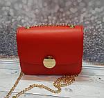 Маленькая красная женская сумочка на цепочке, фото 2