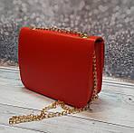 Маленькая красная женская сумочка на цепочке, фото 4