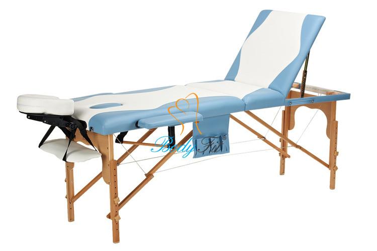 Массажный стол BodyFit, 3 сегментный,2-цветный,дервянный Бирюзовый