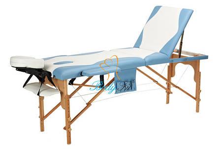 Массажный стол BodyFit, 3 сегментный,2-цветный,дервянный Бирюзовый, фото 2