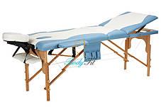 Массажный стол BodyFit, 3 сегментный,2-цветный,дервянный Бирюзовый, фото 3