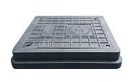 Люк полимерпесчаный легкий 400х450 с замком (А15) черный
