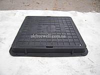 Люк полимерпесчаный квадратный 710х710 с замком В125 (черный)