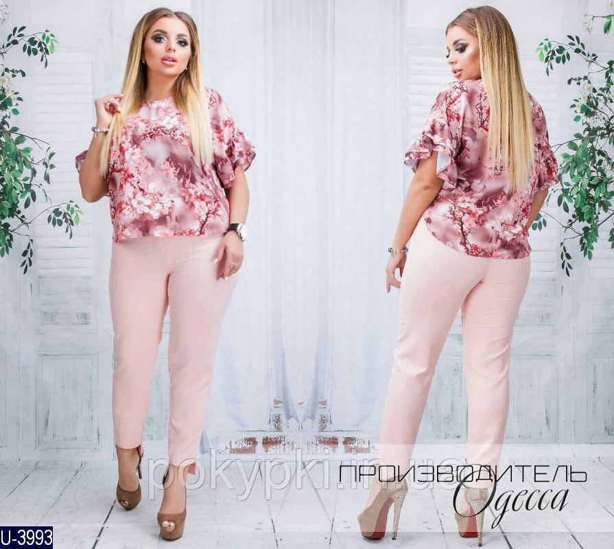 f38b6823d6c7688 Модный женский летний костюм для пышных дам блузка с цветочным принтом и  брюки