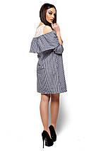 Летнее платье короткое свободное с воланом рукав до локтя черное в клетку, фото 3