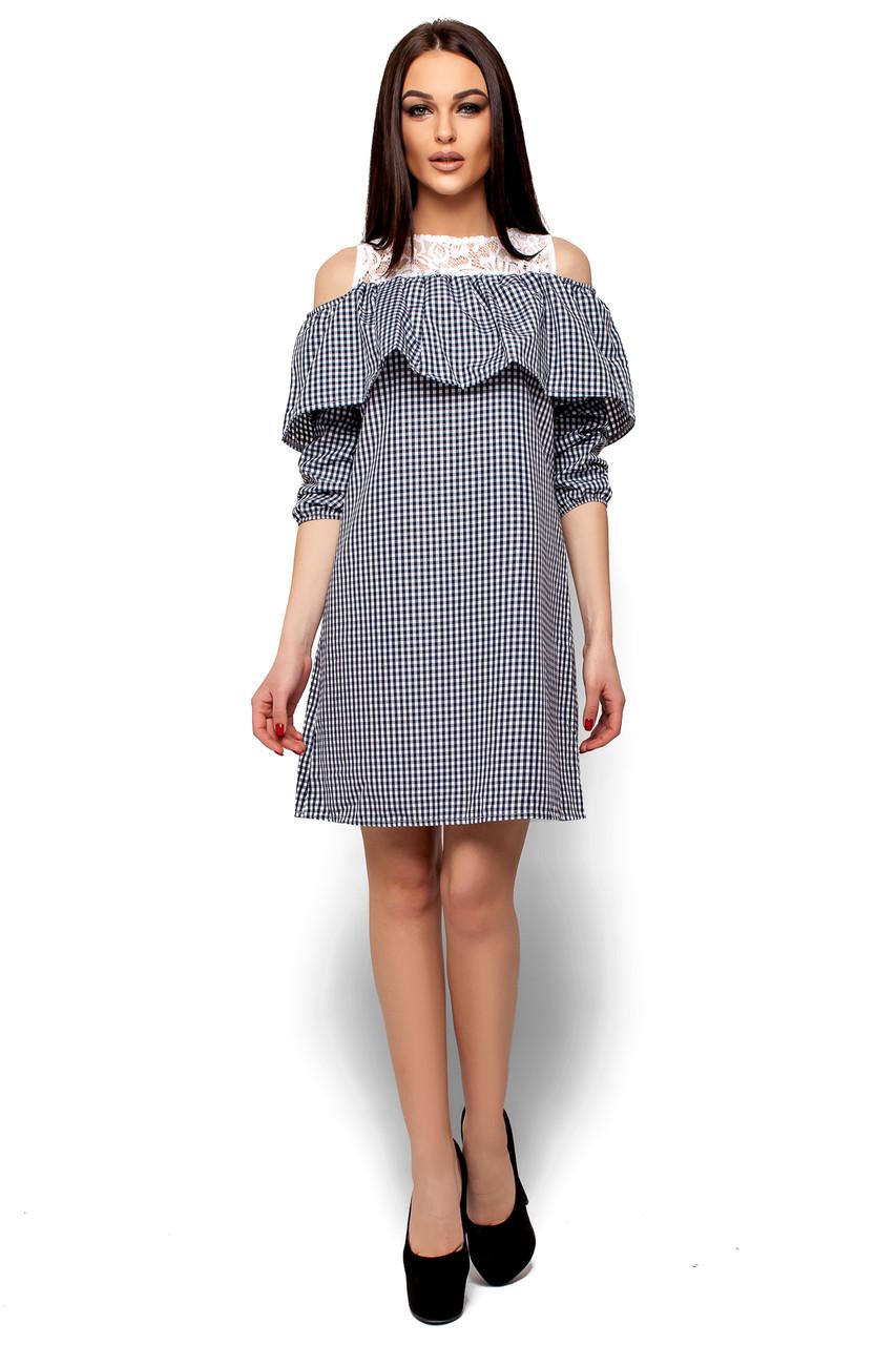 Летнее платье короткое свободное с воланом рукав до локтя черное в клетку