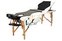 Массажный стол BodyFit, 3 сегментный,2-цветный,дервянный Черный