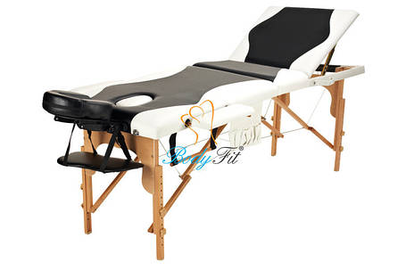 Массажный стол BodyFit, 3 сегментный,2-цветный,дервянный Черный, фото 2
