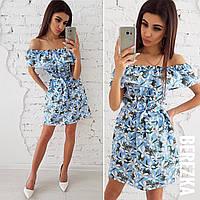 Хлопковое летнее платье с открытыми плечами и воланом 66PL1414