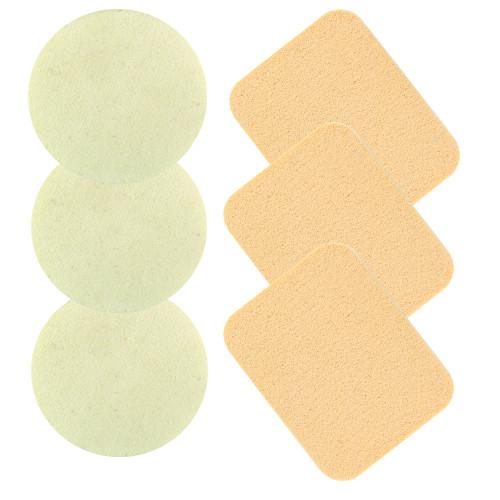Набор косметических спонжей 3 круга и 3 прямоугольника  (6 шт) QS-125
