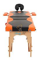 Массажный стол BodyFit, 3 сегментный,2-цветный,дервянный Оранжевый, фото 2