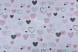 """Ткань хлопковая """"Нарисованные сердечки"""" розовые и тёмно-серые на белом (№1317а), фото 5"""