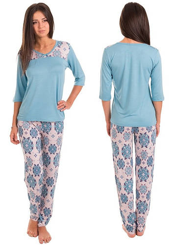 Домашний комплект женский длинная футболка и брюки пижама вискоза домашняя  одежда Украина 57b5962ece54f
