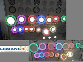 Led светильник круг со светодиодной подсветкой Завитки 3+3W Lemanso, фото 2