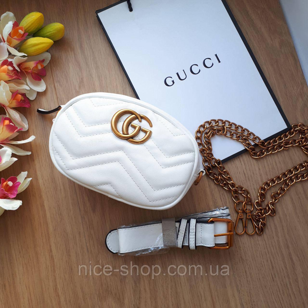 Сумочка-бананка Gucci Marmont белая, эко-кожа