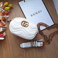 Сумочка-бананка Gucci Marmont белая, эко-кожа, фото 1