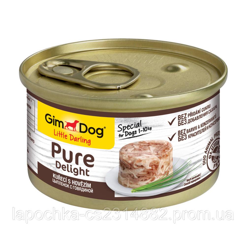 Консервы GimDog LD Pure Delight для собак с кусочками цыпленка и говядины в желе, 85 г