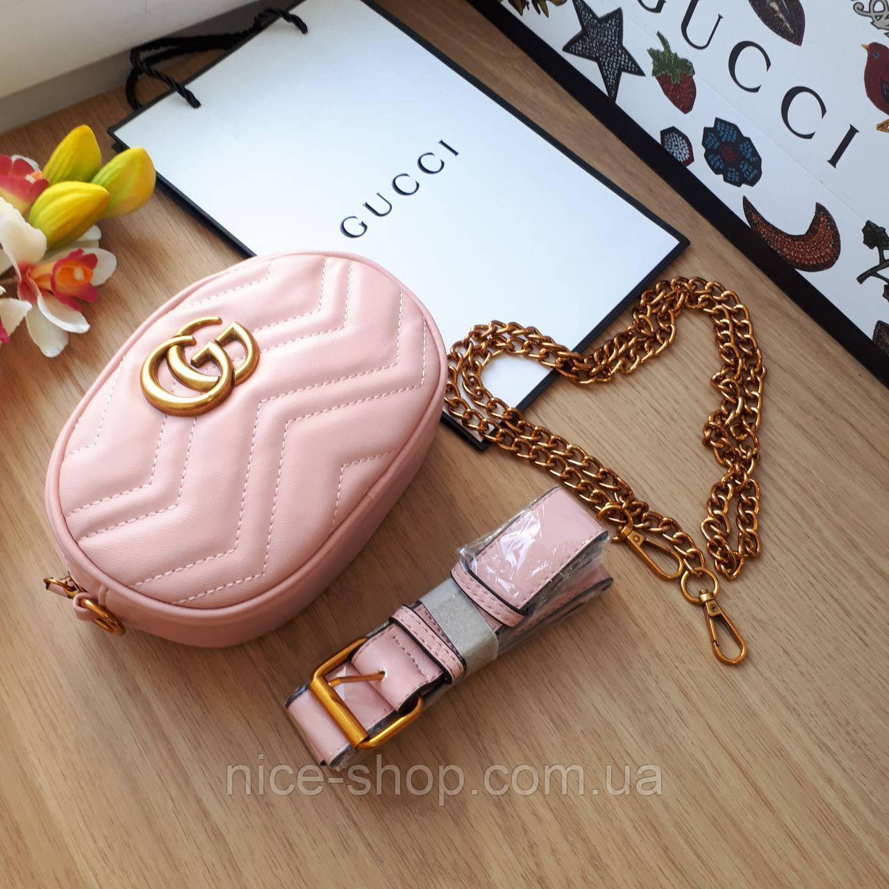 Сумочка-бананка Gucci Marmont розовая, эко-кожа
