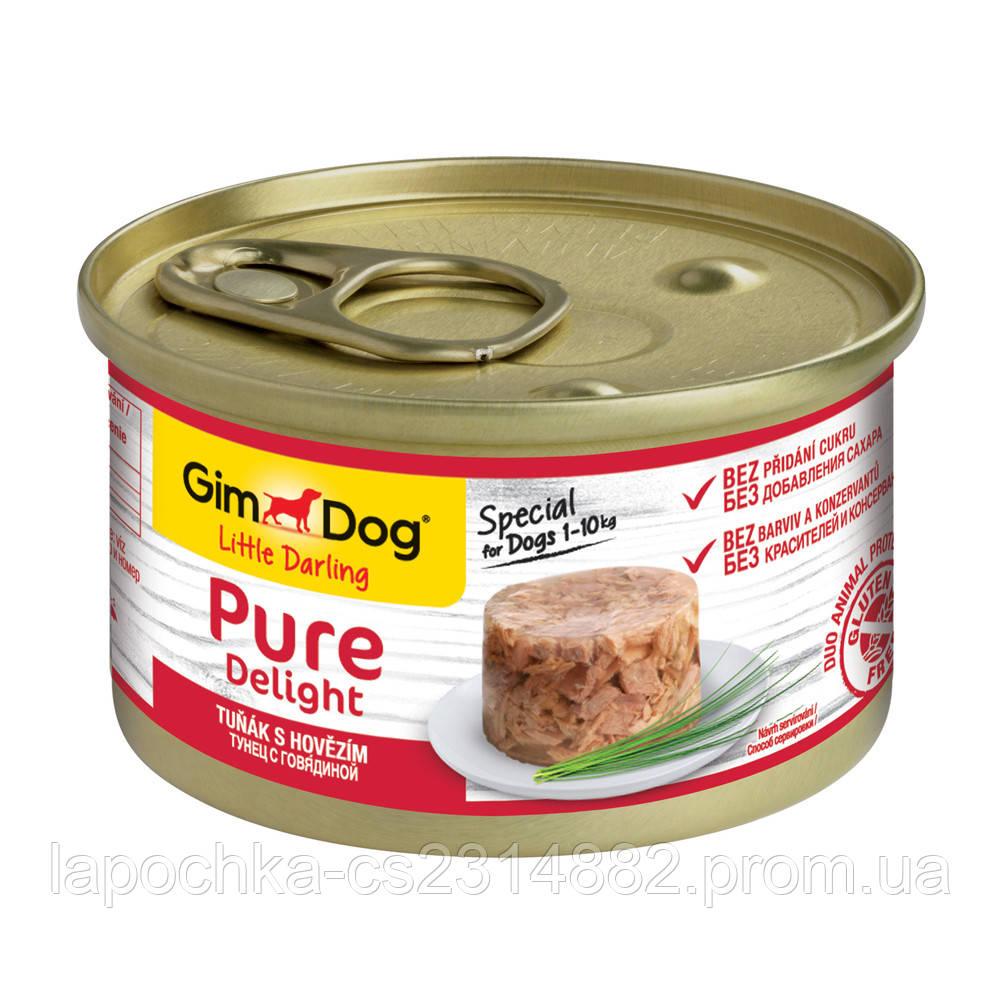 Консервы GimDog LD Pure Delight для собак с кусочками тунца и говядины в желе, 85 г