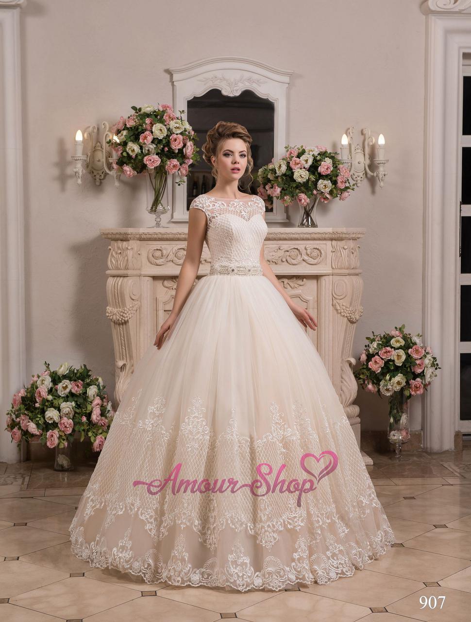 Свадебное платье. Пышное кружевное. Белый, айвори, телесный