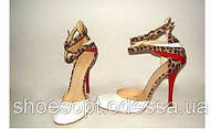 Элитные женские белые босоножки на шпильке кожаные вставка леопард