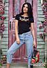 Молодіжна жіноча вишита футболка чорного кольору із вишивкою квітами «Мальви»