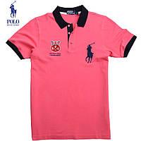 Футболка мужская поло летняя Ralph Lauren(реплика)-105 розовая