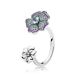 Серебряное кольцо «Цветы тропиков» в стиле Pandora