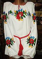 """Вишиванка жіноча ручної роботи """"Квіткова"""" тамбурська вишивка 44-46 розмір"""