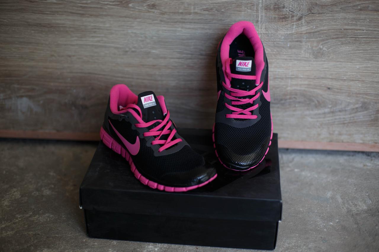 Кроссовки Nike Free 3.0.Розовые с черным.сетка