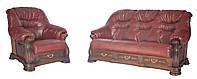"""Кожаный комплект мягкой мебели """" Bordeaux """" (Бордо)  Диван (с французкой раскладушкой) и кресло"""