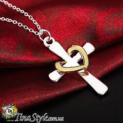 Подвеска кулон Крест крестик из сердцем стерлинговое серебро 925 проба хрестик тиффани tiffany