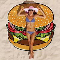 Круглый коврик Гамбургер, Бургер, Hamburger пляжный(подстилка, покрывало, полотенце, парео), 150 см
