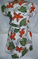 Платье c листьями женское (креп-софт)